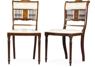 VICTORIAN MAHOGANY & INLAID SALON CHAIRS