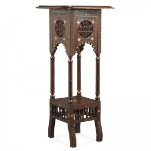 CARVED & INLAID JARDINIERE STAND