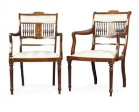 PAIR OF INLAID ELBOW CHAIRS