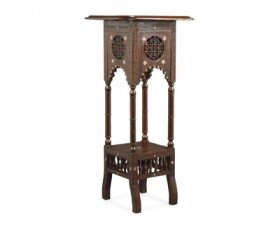 CARVED INLAID JARDINIERE STAND