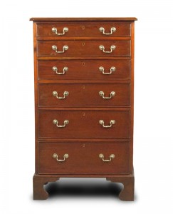 SLIM MAHOGANY CHEST OF DRAWERS